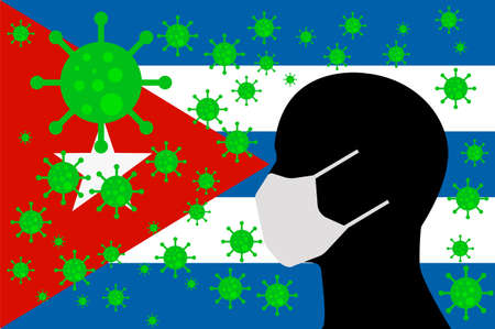 Human using a Mouth Face Masks or Mouth Cover   surrounded with virus with CUBA flag 版權商用圖片 - 154251055