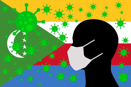 Human using a Mouth Face Masks or Mouth Cover surrounded with virus with COMOROS flag 向量圖像