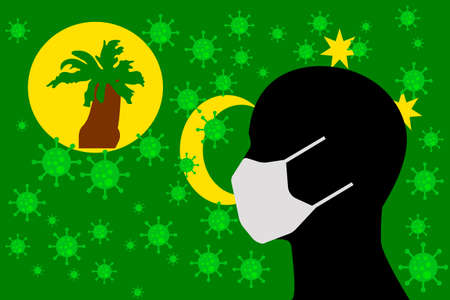 Human using a Mouth Face Masks or Mouth Cover surrounded with virus with COCO ISLANDS KEELING flag