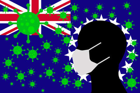 Human using a Mouth Face Masks or Mouth Cover surrounded with virus with COOK ISLANDS flag 版權商用圖片 - 154251058