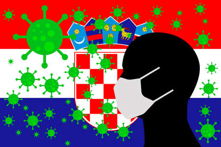 Human using a Mouth Face Masks or Mouth Cover surrounded with virus with CROATIA flag 向量圖像