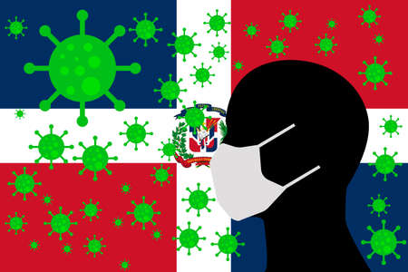 Human using a Mouth Face Masks or  Mouth Cover surrounded with virus with DOMINICAN REPUBLIC flag