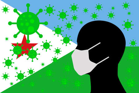 Human using a Mouth Face Masks or  Mouth Cover surrounded with virus with DJIBOUTI flag 版權商用圖片 - 154251063