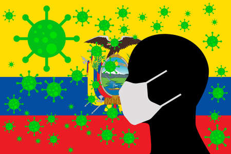 Human using a Mouth Face Masks or  Mouth Cover surrounded with virus with ECUADOR flag