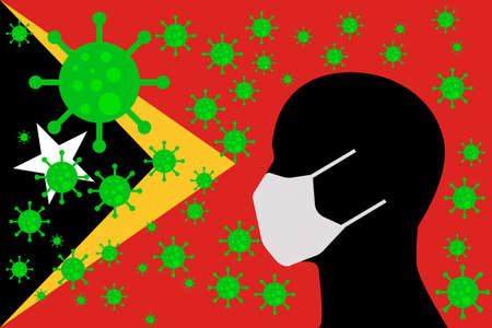 Human using a Mouth Face Masks or  Mouth Cover surrounded with virus with EAST TIMOR flag 版權商用圖片 - 154251065