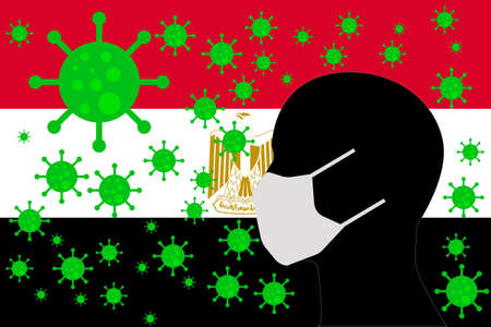 Human using a Mouth Face Masks or  Mouth Cover surrounded with virus with EGYPT flag