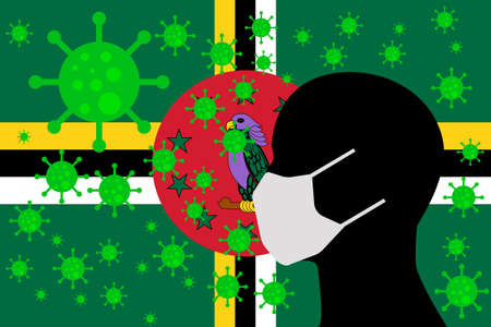 Human using a Mouth Face Masks or  Mouth Cover surrounded with virus with DOMINICA flag 版權商用圖片 - 154251069