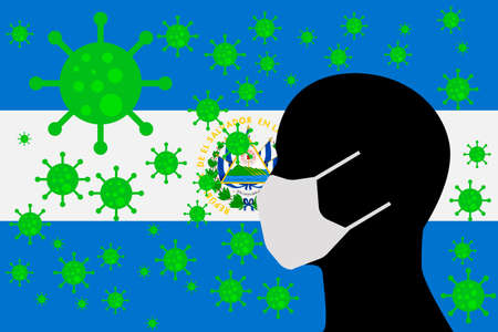 Human using a Mouth Face Masks or  Mouth Cover surrounded with virus with EL SALVADOR flag 版權商用圖片 - 154252047