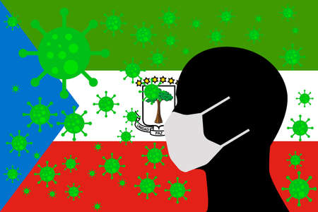 Human using a Mouth Face Masks or  Mouth Cover surrounded with virus with EQUATORIAL GUINEA flag