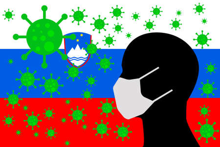 Human using a Mouth Face Masks or  Mouth Cover surrounded with virus with SLOVENIA flag Иллюстрация