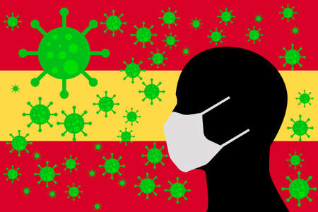 Human using a Mouth Face Masks or  Mouth Cover surrounded with virus with Spain flag
