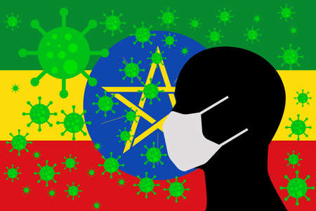 Human using a Mouth Face Masks or  Mouth Cover surrounded with virus with ETHIOPIA flag