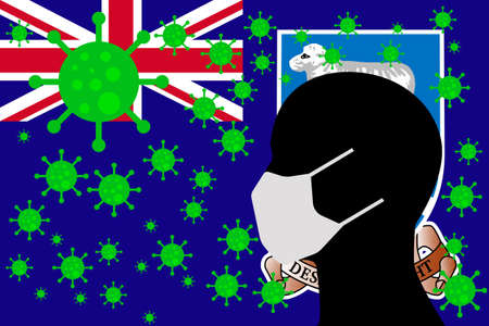 Human using a Mouth Face Masks or  Mouth Cover surrounded with virus with FALKLAND ISLANDS flag 版權商用圖片 - 154252054