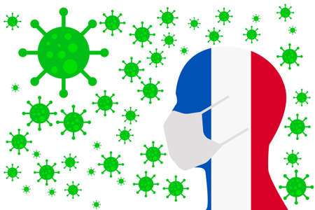 Human using a Mouth Face Masks or  Mouth Cover surrounded with virus with France flag 版權商用圖片 - 154252057