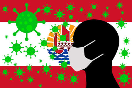 Human using a Mouth Face Masks or  Mouth Cover surrounded with virus with FRENCH POLYNESIA flag 版權商用圖片 - 154252058