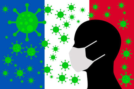 Human using a Mouth Face Masks or  Mouth Cover surrounded with virus with France flag