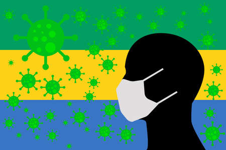 Human using a Mouth Face Masks or  Mouth Cover surrounded with virus with GABON flag 版權商用圖片 - 154252065