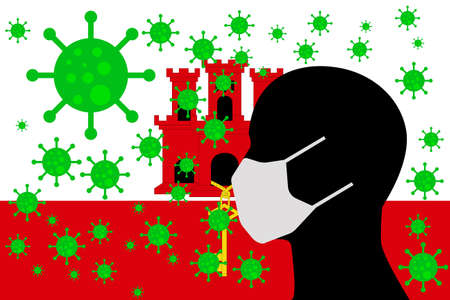 Human using a Mouth Face Masks or  Mouth Cover surrounded with virus with GIBRALTAR flag 版權商用圖片 - 154252060