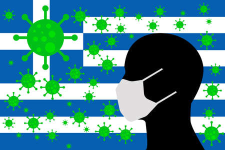 Human using a Mouth Face Masks or  Mouth Cover surrounded with virus with GREECE flag 版權商用圖片 - 154252063