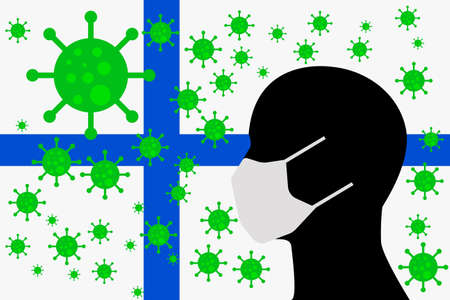 Human using a Mouth Face Masks or  Mouth Cover surrounded with virus with FINLAND flag 向量圖像