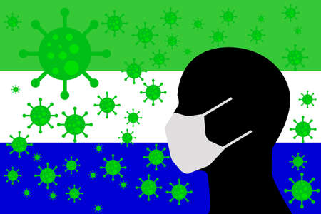 Human using a Mouth Face Masks or  Mouth Cover surrounded with virus with GALAPAGOS ISLANDS flag