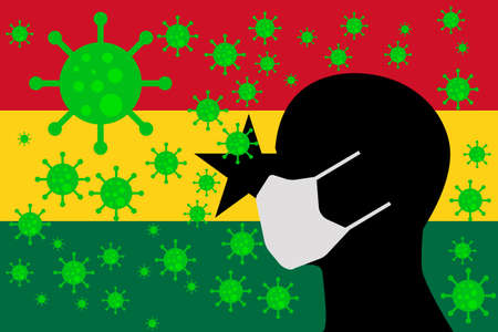 Human using a Mouth Face Masks or  Mouth Cover surrounded with virus with GHANA flag