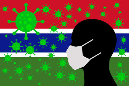 Human using a Mouth Face Masks or  Mouth Cover surrounded with virus with GAMBIA flag