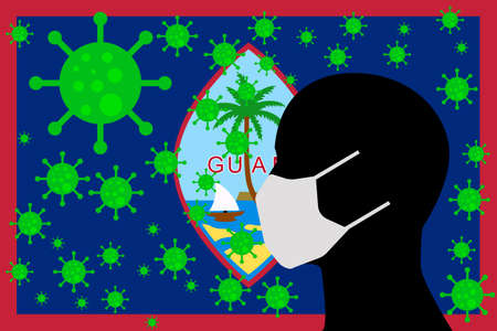 Human using a Mouth Face Masks or  Mouth Cover surrounded with virus with GUAM flag 向量圖像