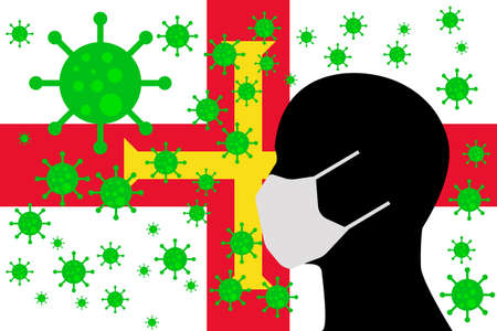 Human using a Mouth Face Masks or  Mouth Cover surrounded with virus with GUERNSEY flag 版權商用圖片 - 154251705