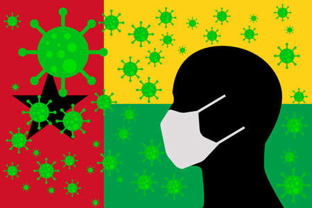 Human using a Mouth Face Masks or  Mouth Cover surrounded with virus with GUINEA BISSAU flag 向量圖像
