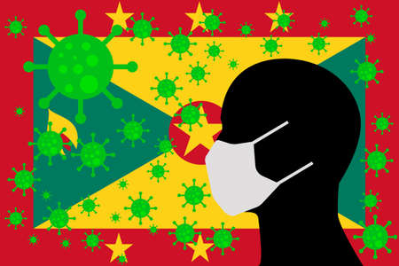 Human using a Mouth Face Masks or  Mouth Cover surrounded with virus with GRENADA flag 版權商用圖片 - 154251708