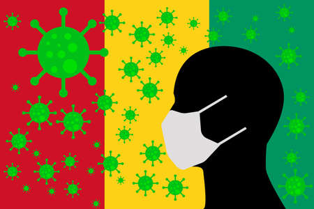 Human using a Mouth Face Masks or  Mouth Cover surrounded with virus with GUINEA flag