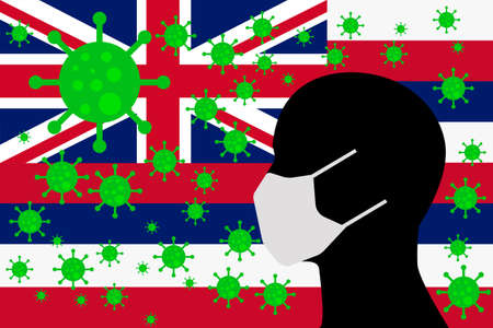 Human using a Mouth Face Masks or  Mouth Cover surrounded with virus with HAWAII flag 版權商用圖片 - 154251711