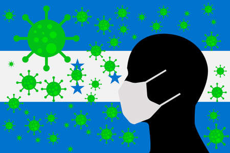 Human using a Mouth Face Masks or  Mouth Cover  surrounded with virus with HONDURAS flag 版權商用圖片 - 154251713