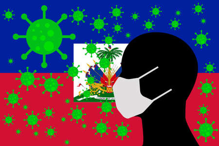 Human using a Mouth Face Masks or  Mouth Cover surrounded with virus with HAITI flag 版權商用圖片 - 154251714