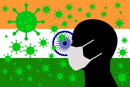 Human using a Mouth Face Masks or  Mouth Cover surrounded with virus with INDIA flag 版權商用圖片 - 154251716