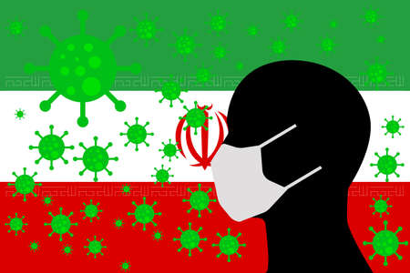 Human using a Mouth Face Masks or  Mouth Cover surrounded with virus with IRAN flag 向量圖像