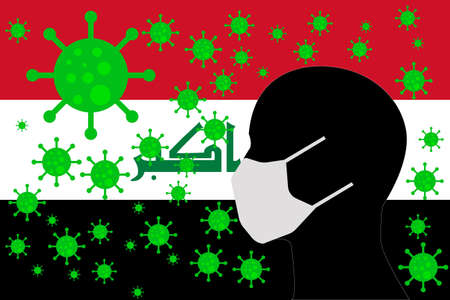 Human using a Mouth Face Masks or  Mouth Cover surrounded with virus with IRAQ flag
