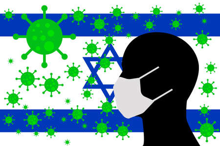 Human using a Mouth Face Masks or  Mouth Cover surrounded with virus with ISRAEL flag