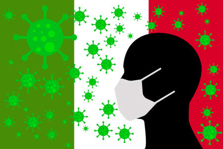 Human using a Mouth Face Masks or  Mouth Cover surrounded with virus with Italy flag 版權商用圖片 - 154251211