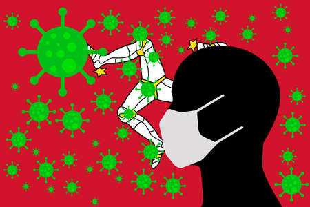 Human using a Mouth Face Masks or  Mouth Cover surrounded with virus with ISLE OF MAN flag 版權商用圖片 - 154251214