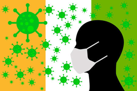Human using a Mouth Face Masks or  Mouth Cover surrounded with virus with IVORY COAST flag 版權商用圖片 - 154251213