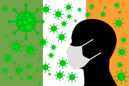 Human using a Mouth Face Masks or  Mouth Cover surrounded with virus with IRELAND flag 向量圖像