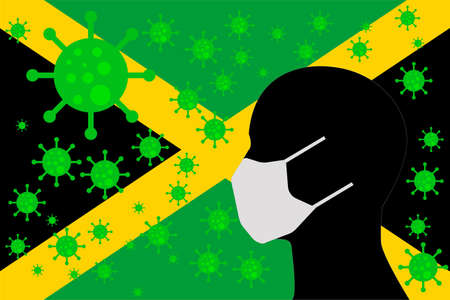 Human using a Mouth Face Masks or  Mouth Cover surrounded with virus with JAMAICA flag