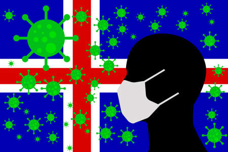 Human using a Mouth Face Masks or  Mouth Cover surrounded with virus with ICELAND flag 版權商用圖片 - 154251216
