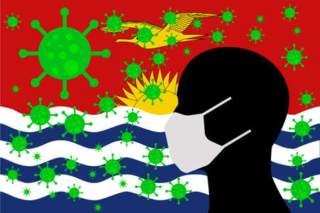 Human using a Mouth Face Masks or  Mouth Cover surrounded with virus with KIRIBATI flag 版權商用圖片 - 154251221
