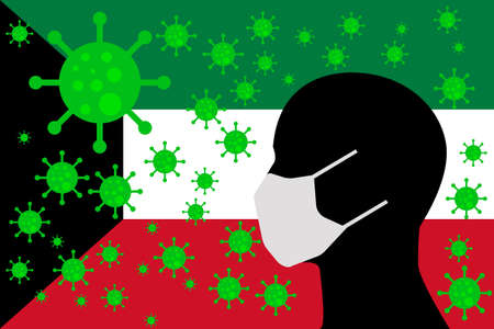 Human using a Mouth Face Masks or  Mouth Cover surrounded with virus with KUWAIT flag