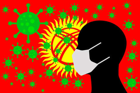 Human using a Mouth Face Masks or  Mouth Cover surrounded with virus with KYRGYZSTAN flag 版權商用圖片 - 154251225