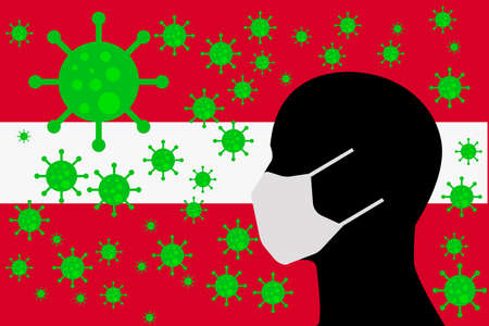 Human using a Mouth Face Masks or  Mouth Cover surrounded with virus with LATVIA flag 版權商用圖片 - 154251227