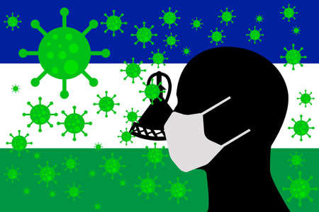 Human using a Mouth Face Masks or  Mouth Cover surrounded with virus with LESOTHO flag 版權商用圖片 - 154251228
